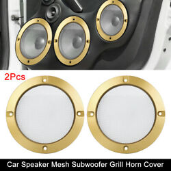 2pcs 4'' Car Metal Speaker Cover Subwoofer Grill Horn Guard Glossy Gold Tone
