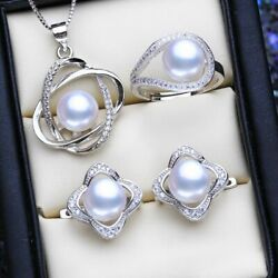 Women's Vintage Necklaces 925 Sterling Silver Pearl Classic Stud Jewelry Sets