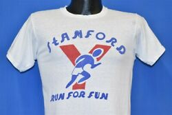 Vintage 60s Stamford Run For Fun Ymca Connecticut White Cotton T-shirt Small S