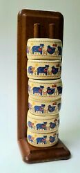 Trenditions Country Home 6pc Napkin Ring With Wood Holder Vintage Farm Decor