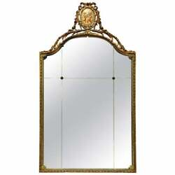 Antique Large French Style Adams Decorated And Giltwood Wall Mirror Circa 1920