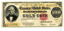 1922 100 Gold Coin Certificate Fr 1215 Speelman-white Large Currency