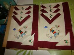 Nos Vintage J.sands Linen Tablecloths And Napkin Mexican Sombrero Cactus Embroidered