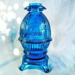 Vintage Viking Blue Glass Pot Belly Stove Fairy Lamp Free Shipping