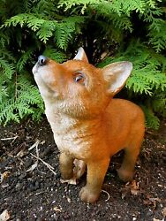 Fox Looking Up Figurine Ornament Decoration Resin Wolves Statue New 10 In.h