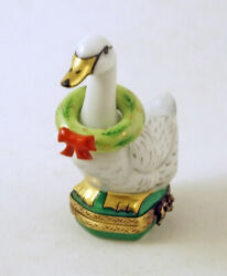 New Authentic French Limoges Trinket Box Christmas Goose With Christmas Wreath