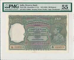 Reserve Bank India 100 Rupees Nd1943 Bombay S/no Xx4004 Pmg 55
