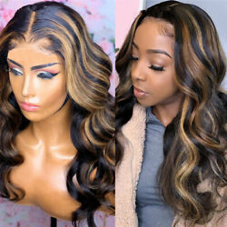 Colour Body Wave Human Hair Wigs For Black Women Full Close Lace Cap Long Wig $20.00