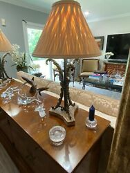 Rare Vintage Theodore Alexander Bronze Table Lamps With Marble Base Custom Shade