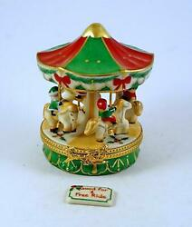 New French Limoges Trinket Box Amazing Christmas Carousel With Removable Ticket