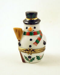 New French Limoges Trinket Box Cute Snowman With Christmas Holly Scarf And Broom