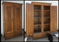 Antique Solid Oak Armoire Wardrobe Egg And Dart Crown And Double Ring Carvings W/key