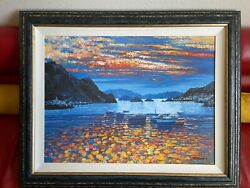 Howard Behrens Amalfi Sunset Big Giclee W Hand Done Oil Painting Signed And Erd