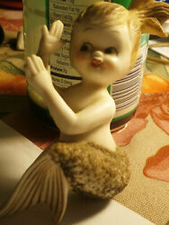 Vintage Norcrest Porcelain Wall Mermaid With Glitter Tail