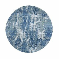 6and0392x6and0392 Round Abstract Design Wool And Pure Silk Blue Hand Knotted Rug R66755