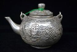 Chinese Old Handwork Tibet Silver Copper 8 Immorta Rare Antique Big Teapots