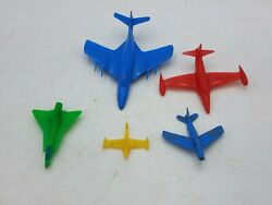 Vintage Plastic Assorted Size 5 Piece Airplane Toy Lot Multi-color Usaf