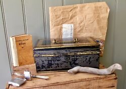 Antique Vintage Metal Tin Cash Box - Black And Gold Painted - Removable Trayandnbsp