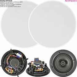 Quality Pair Of 8andrdquo 120w 2 Way Low Profile Ceiling Speaker -100v 8ohm-wall Slim