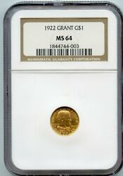1922 Grant G1 Commemorative Gold Dollar Coin Ngc Ms 64