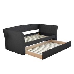 Hester Upholstered Day Bed Twin-size 700 Lbs. Capacity Tundle Fabric Wood Black