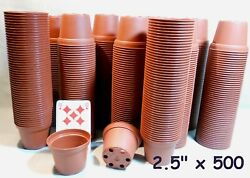 """2 ½ """" Round Plastic Miniature Brown Flower Pots Lot Of 500 New"""