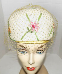 Vintage High Dome Straw Hat Floral Embroidered Appliques Veil