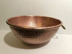 Vintage Hammered Copper Mixing Bowl 9.5andrdquo Wide W/handle Loop Rustic Farm Kitchen