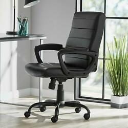 Manager's Office Chair Bonded Leather Mid Back With 5 Dual Caster Wheels Black