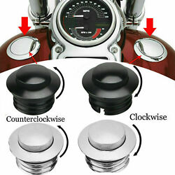 Chrome/black Cnc Flush Pop Up Vented Fuel Tank Gas Cap Cover For Harley Softail