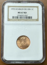 1995-p Lincoln Memorial Cent Ddo Double Die Fs-101 Ngc Ms67rd Ms-67 Red Coin