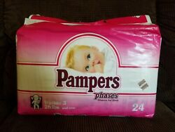 Vintage 24 Pack Of 1992 Pampers Phases Walker 3 For Girls Plastic Diapers 26+ Lb