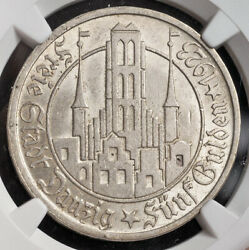 1923 Danzig Free City. Beautiful Large Silver 5 Gulden Coin. Rare Ngc Ms-63