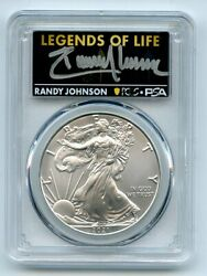 2021 P 1 Silver Eagle Emergency T1 Pcgs Ms70 Legends Of Life Randy Johnson