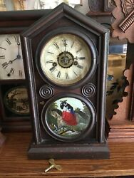 Working 1864 Antique 8 Day Victorian Ogee Parlor Mantel Clock Mahogany Complete