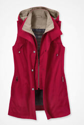Coldwater Creek All-season Water-repellent Vest W/ Hood - Red Xl - New W/ Tags
