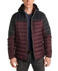 Perry Ellis Mens Jacket Red Size Small S Colorblock Full-zip Puffer 120 141