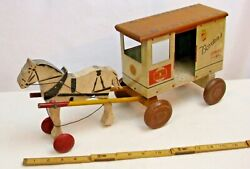 Rich Toys Borden's Horse Drawn Milk Wagon Pull Toy In Tin And Wood 1900s