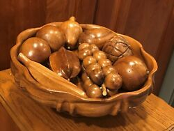 Vintage Beautiful 12x5.5 Wood Pedestal Bowl Turns With 9 Pcs Carved Wood Fruit
