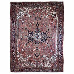 9and0398x12and0395 Vintage Farsian Heris Even Wear Pure Wool Hand Knotted Rug R66746