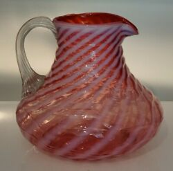 Vintage Blown Glass Cranberry Opalescent Spiral Swirl Optic Pitcher Large