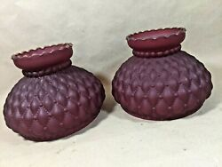 Lot Of 2 Ribbed Ruby Red Glass Shade For Old Antique Kerosene Oil Student Lamp