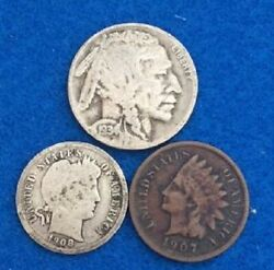 Old Us Coin Estate Lot Barber Dime Buffalo Nickel Indianhead Pennyl 3 Coin Set