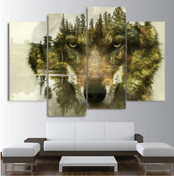 Wolf Forest Reflection Canvas Animal Wall Art Hd Print Home Decoration Paintings