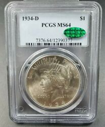 1934 D Peace Silver Eagle Dollar Coin Pcgs Ms64 Cac Ch Bu Unc Certified
