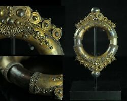 May104 Chinese Antique Tibetan Gold Gilt Silver Bracelet Buddhist Altar Tool