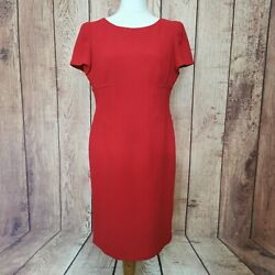 Marks And Spencer Size 16 Red Knee Length Shealth/pencil Dress Work/business Wear