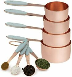 8 Piece Copper Measuring Cups And Measuring Spoon Set Stainless Steel