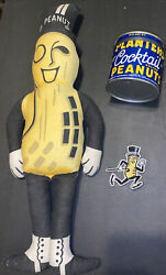 Vintage Planters Mr Peanut Lot Doll ,tin And Embroidered Patch