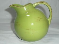 Tag Lime Green Gold Ball Pitcher Creamer Brown Highlights Farmhouse Country